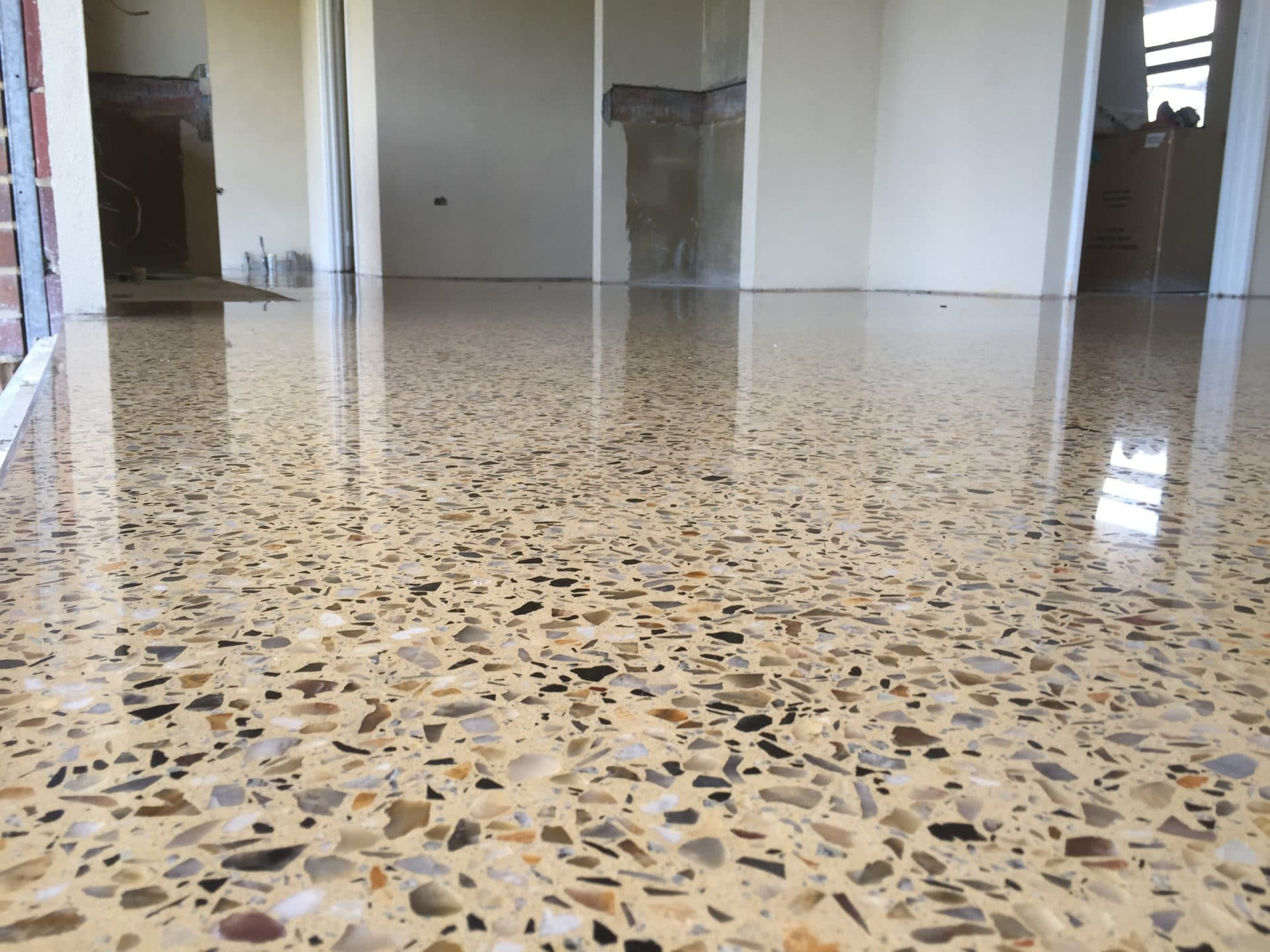 Polished concrete floors in the home